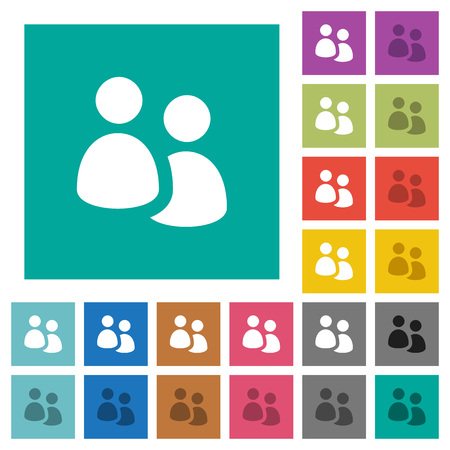 User group multi colored flat icons on plain square backgrounds. Included white and darker icon variations for hover or active effects.