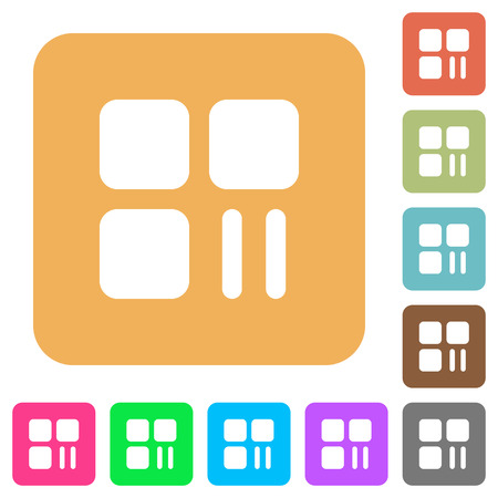 Component pause flat icons on rounded square vivid color backgrounds.