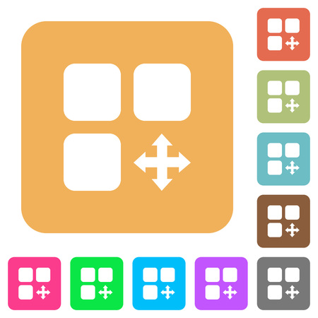 Move component flat icons on rounded square vivid color backgrounds.