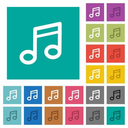 tact: Music note multi colored flat icons on plain square backgrounds. Included white and darker icon variations for hover or active effects. Illustration