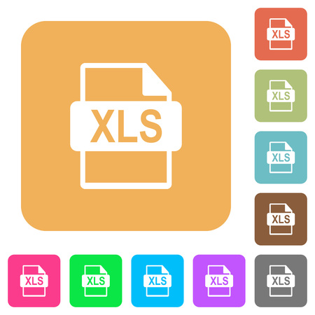 XLS file format flat icons on rounded square vivid color backgrounds.
