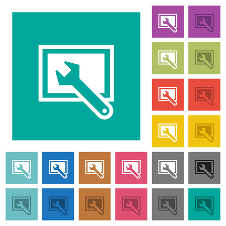preset: Screen settings multi colored flat icons on plain square backgrounds. Included white and darker icon variations for hover or active effects.
