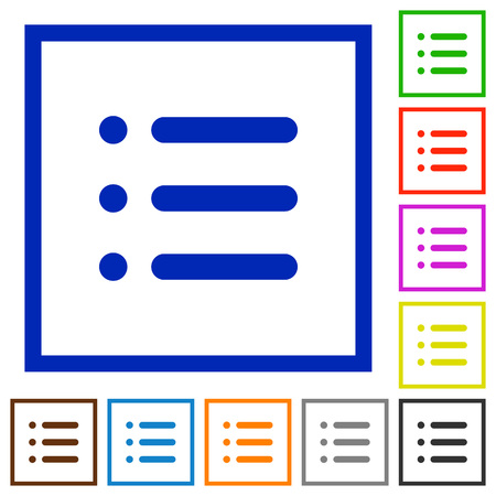 disordered: Unordered list flat color icons in square frames on white background Illustration