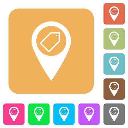 Tagging GPS map location flat icons on rounded square vivid color backgrounds. Illustration