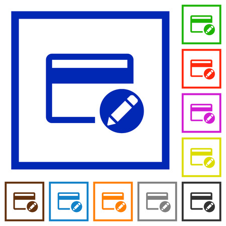 alter: Rename credit card flat color icons in square frames on white background Illustration