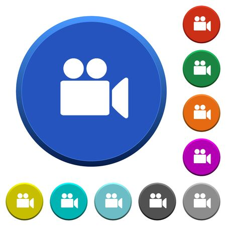 movie film: Video camera round color beveled buttons with smooth surfaces and flat white icons Illustration