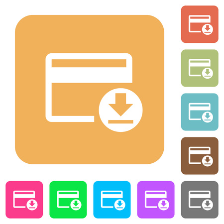 bankcard: Money withdrawal with credit card flat icons on rounded square vivid color backgrounds. Illustration