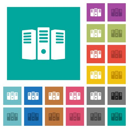 pc icon: Server hosting multi colored flat icons on plain square backgrounds. Included white and darker icon variations for hover or active effects. Illustration