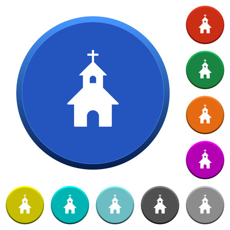 Curch round color beveled buttons with smooth surfaces and flat white icons