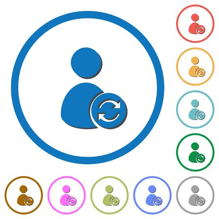Refresh user account flat color vector icons with shadows in round outlines on white background Illustration
