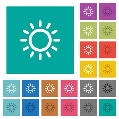 明るさコントロール マルチカラーは、普通の正方形の背景にフラット アイコン。ホバーまたはアクティブ エフェクトの白と暗いアイコンのバリエ