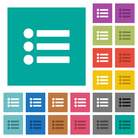flecks: Bullet list multi colored flat icons on plain square backgrounds. Included white and darker icon variations for hover or active effects.