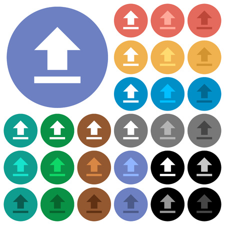 Upload multi colored flat icons on round backgrounds. Included white, light and dark icon variations for hover and active status effects, and bonus shades on black backgounds.
