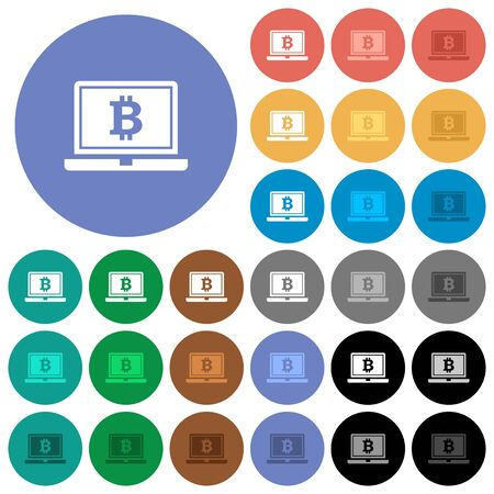 pc icon: Laptop with Bitcoin sign multi colored flat icons on round backgrounds. Included white, light and dark icon variations for hover and active status effects, and bonus shades on black backgounds. Illustration