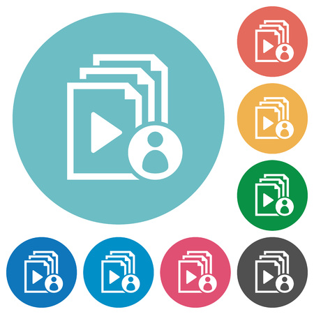 author: Playlist author flat white icons on round color backgrounds