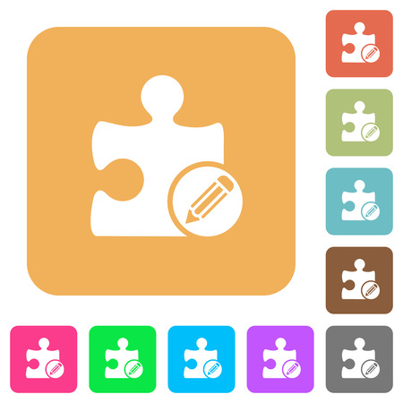 puzzle corners: Edit plugin flat icons on rounded square vivid color backgrounds. Illustration