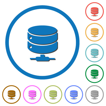 Network database flat color vector icons with shadows in round outlines on white background