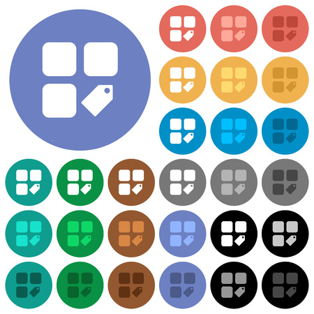 Tag component multi colored flat icons on round backgrounds. Included white, light and dark icon variations for hover and active status effects, and bonus shades on black backgounds.