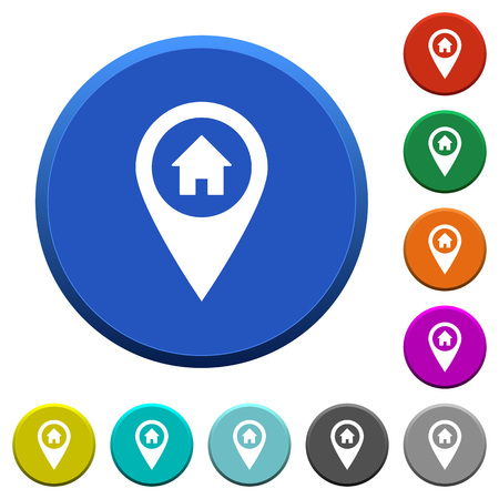 beveled: Home address GPS map location round color beveled buttons with smooth surfaces and flat white icons Illustration