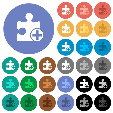 Add new plugin multi colored flat icons on round backgrounds. Included white, light and dark icon variations for hover and active status effects, and bonus shades on black backgounds. Illustration