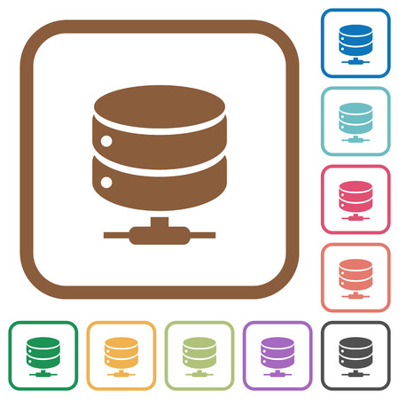 dataset: Network database icons simple icons in color rounded square frames on white background