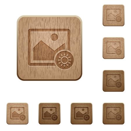 木製ボタン スタイルを刻まれた丸みを帯びた正方形の画像の明るさを調整します。  イラスト・ベクター素材