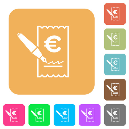 signing: Signing Euro cheque flat icons on rounded square vivid color backgrounds. Illustration