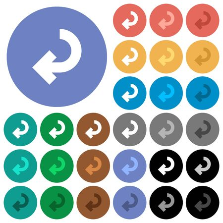 Return arrow multi colored flat icons on round backgrounds. Included white, light and dark icon variations for hover and active status effects, and bonus shades on black backgounds. Ilustrace