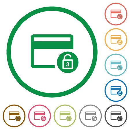 bankcard: Unlock credit card transactions flat color icons in round outlines on white background Illustration