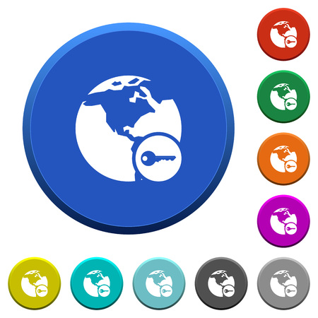 Secure internet surfing round color beveled buttons with smooth surfaces and flat white icons Illustration