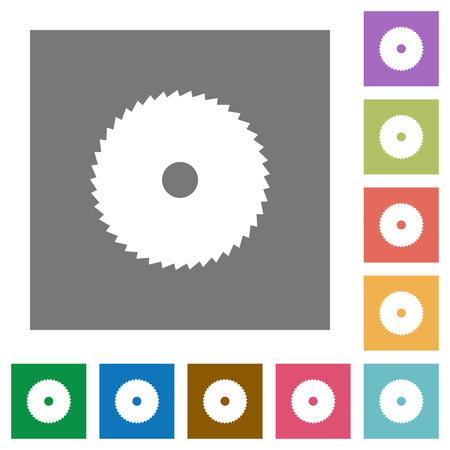 Circular saw flat icons on simple color square backgrounds Ilustrace