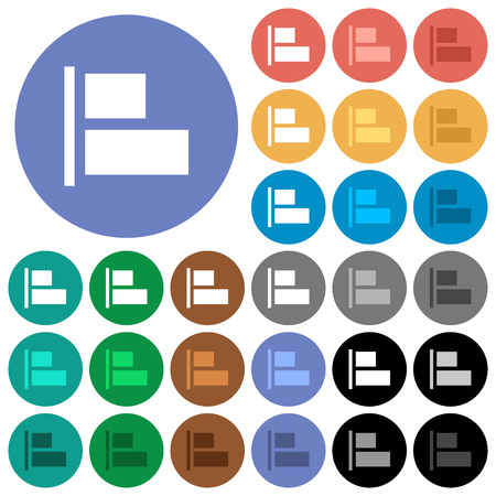 Align to left multi colored flat icons on round backgrounds. Included white, light and dark icon variations for hover and active status effects, and bonus shades on black backgounds.