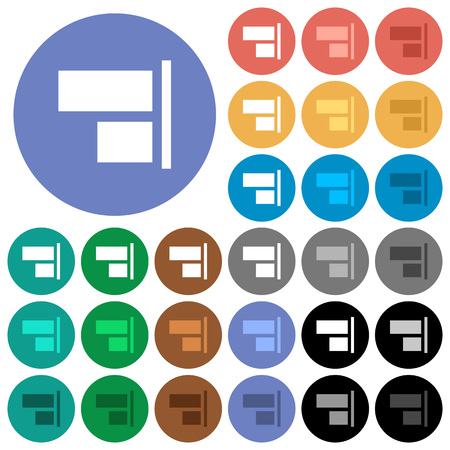 Align to right multi colored flat icons on round backgrounds. Included white, light and dark icon variations for hover and active status effects, and bonus shades on black backgounds. Illustration
