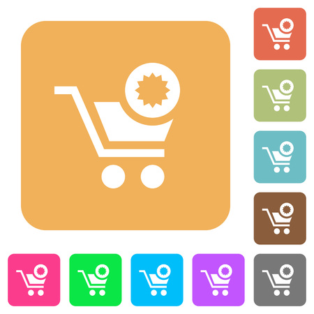 Warranty product purchase flat icons on rounded square vivid color backgrounds.