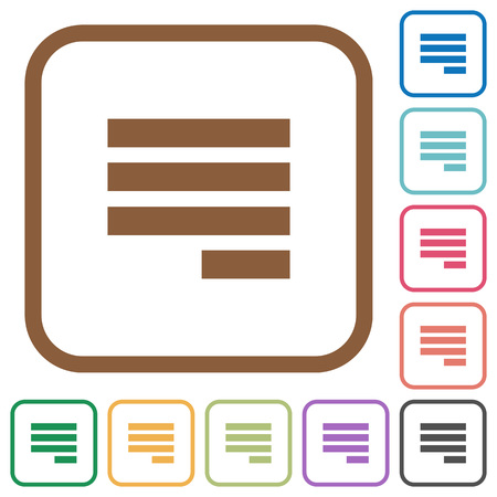justify: Text align justify last row right simple icons in color rounded square frames on white background Illustration