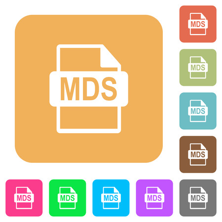 MDS file format flat icons on rounded square vivid color backgrounds.