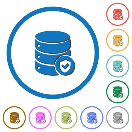 Database protected flat color vector icons with shadows in round outlines on white background