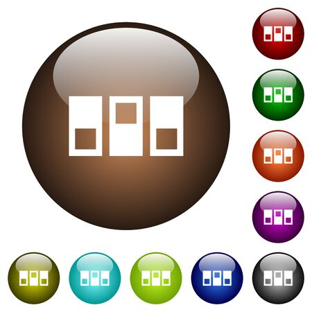 Switchboard white icons on round color glass buttons