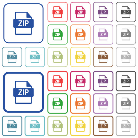 ZIP file format color flat icons in rounded square frames. Thin and thick versions included.