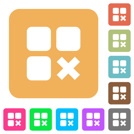 Component cancel flat icons on rounded square vivid color backgrounds.