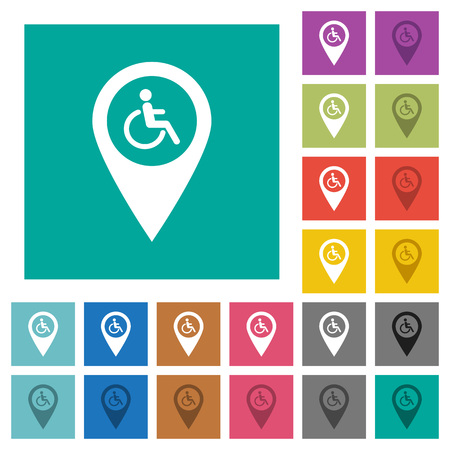 Disability accessibility GPS map location multi colored flat icons on plain square backgrounds. Included white and darker icon variations for hover or active effects. Ilustrace