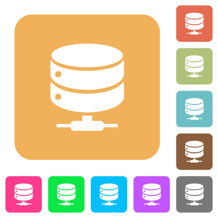 Network database flat icons on rounded square vivid color backgrounds.