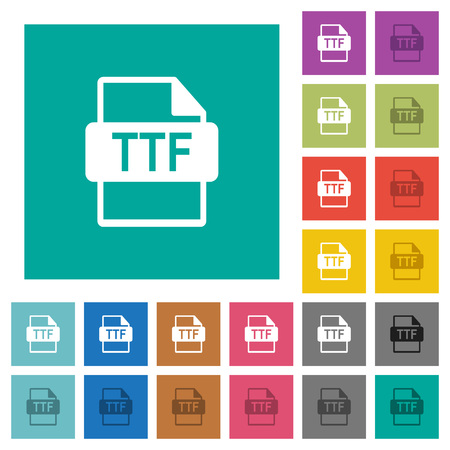 TTF file format multi colored flat icons on plain square backgrounds. Included white and darker icon variations for hover or active effects. Illustration