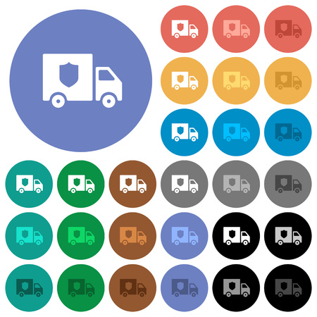 Money deliverer truck multi colored flat icons on round backgrounds. Included white, light and dark icon variations for hover and active status effects, and bonus shades on black backgounds.