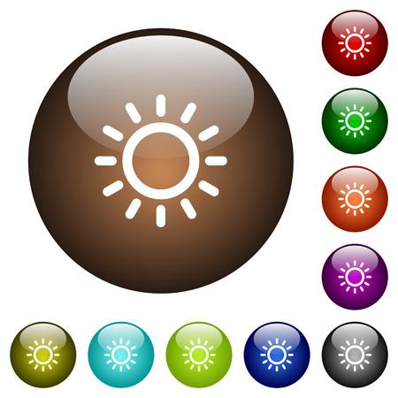 ラウンド カラー ガラス ボタンの明るさ制御白アイコン