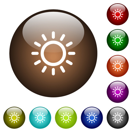 luminary: Brightness control white icons on round color glass buttons Illustration