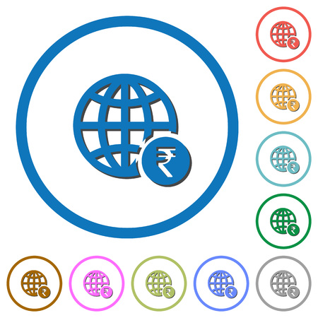 Online Rupee payment flat color vector icons with shadows in round outlines on white background Ilustração