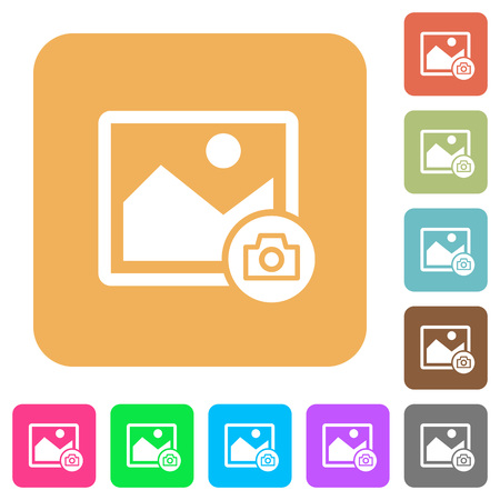 Grab image flat icons on rounded square vivid color backgrounds. Çizim