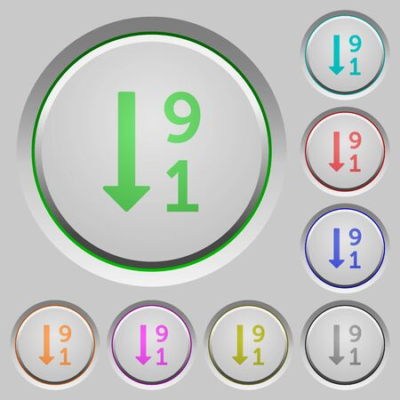 descending: Descending numbered list color icons on sunk push buttons