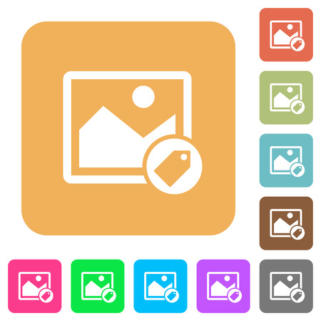 Image tagging flat icons on rounded square vivid color backgrounds. Illustration
